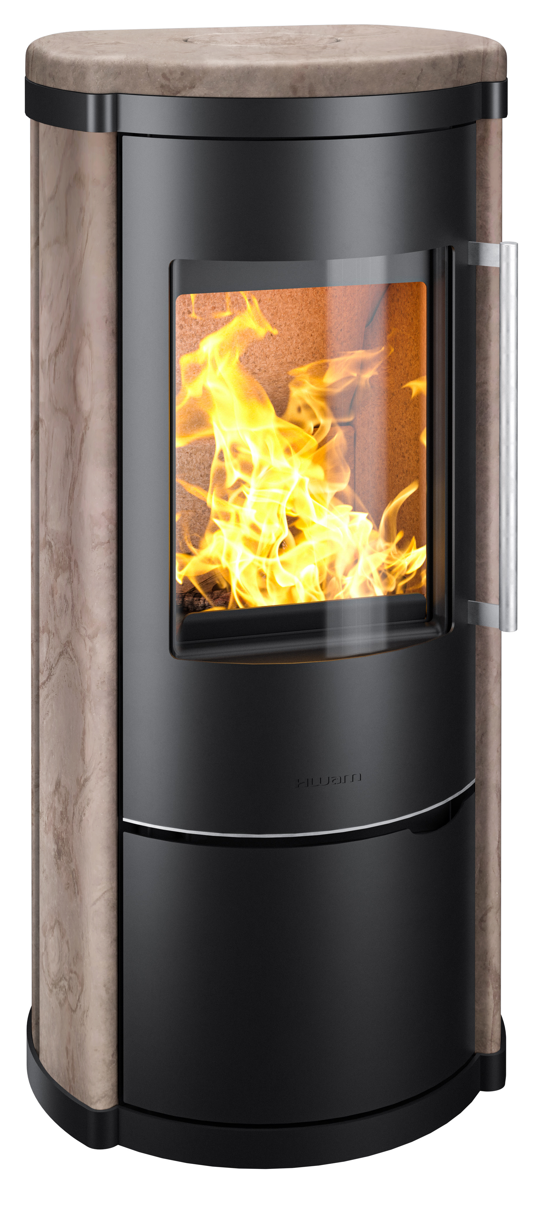 HWAM 4240 in black with Rosewood natural stone cladding